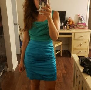 Beautiful green and blue two tone ruched dress